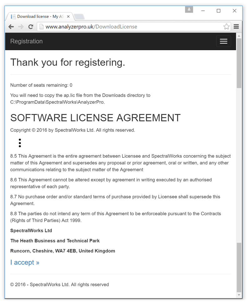 Accept license agreement and download license file.