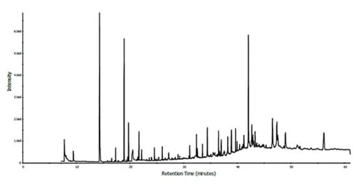 TIC of methanol extract of male african wild dog urine